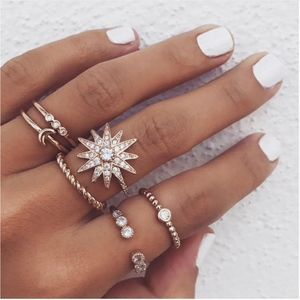 Jewelry - Gold Star Moon Crystal Knuckle Midi Rings